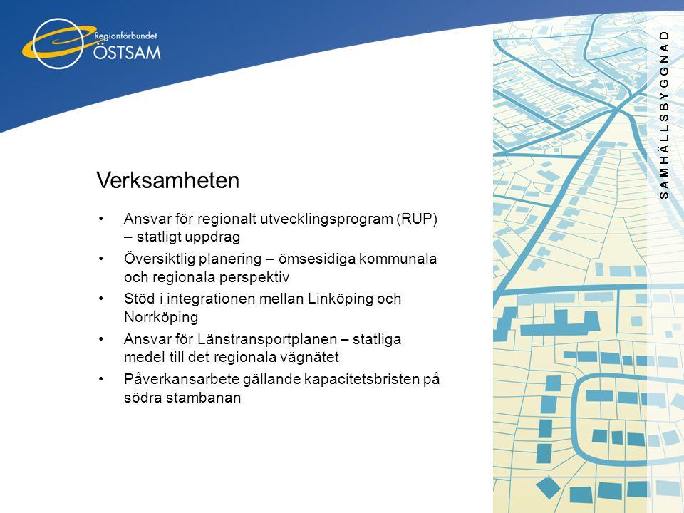 SAMHÄLLSBYGGNAD Verksamheten •Ansvar för regionalt utvecklingsprogram (RUP) – statligt uppdrag •Översiktlig planering – ömsesidiga kommunala och regio