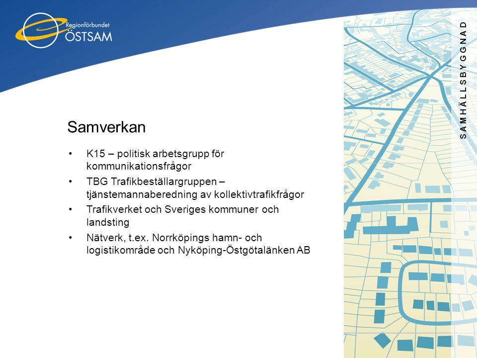 SAMHÄLLSBYGGNAD Samverkan •K15 – politisk arbetsgrupp för kommunikationsfrågor •TBG Trafikbeställargruppen – tjänstemannaberedning av kollektivtrafikf