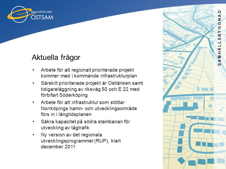 SAMHÄLLSBYGGNAD Aktuella frågor •Arbete för att regionalt prioriterade projekt kommer med i kommande infrastrukturplan •Särskilt prioriterade projekt