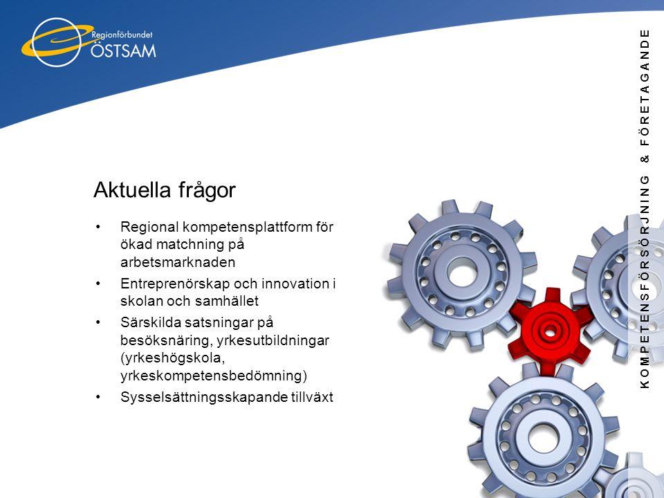 KOMPETENSFÖRSÖRJNING & FÖRETAGANDE Aktuella frågor •Regional kompetensplattform för ökad matchning på arbetsmarknaden •Entreprenörskap och innovation