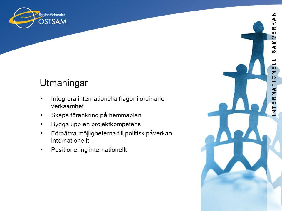 INTERNATIONELL SAMVERKAN Utmaningar •Integrera internationella frågor i ordinarie verksamhet •Skapa förankring på hemmaplan •Bygga upp en projektkompe