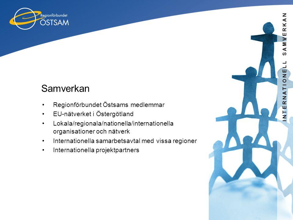 INTERNATIONELL SAMVERKAN Samverkan •Regionförbundet Östsams medlemmar •EU-nätverket i Östergötland •Lokala/regionala/nationella/internationella organi