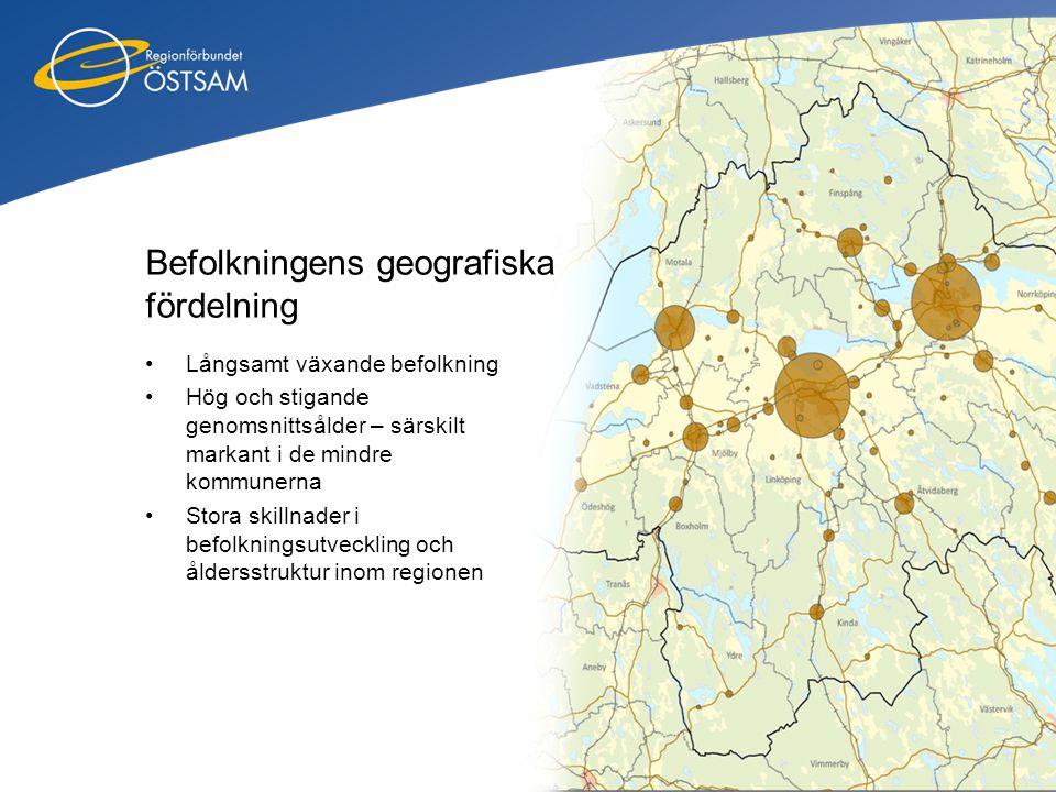 Befolkningens geografiska fördelning •Långsamt växande befolkning •Hög och stigande genomsnittsålder – särskilt markant i de mindre kommunerna •Stora
