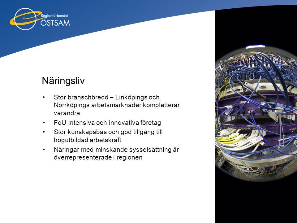 Näringsliv •Stor branschbredd – Linköpings och Norrköpings arbetsmarknader kompletterar varandra •FoU-intensiva och innovativa företag •Stor kunskapsb