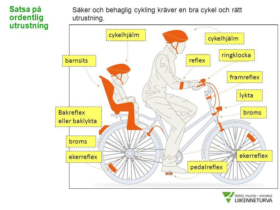 Säker och behaglig cykling kräver en bra cykel och rätt utrustning. Satsa på ordentlig utrustning ekerreflex cykelhjälm barnsits Bakreflex eller bakly