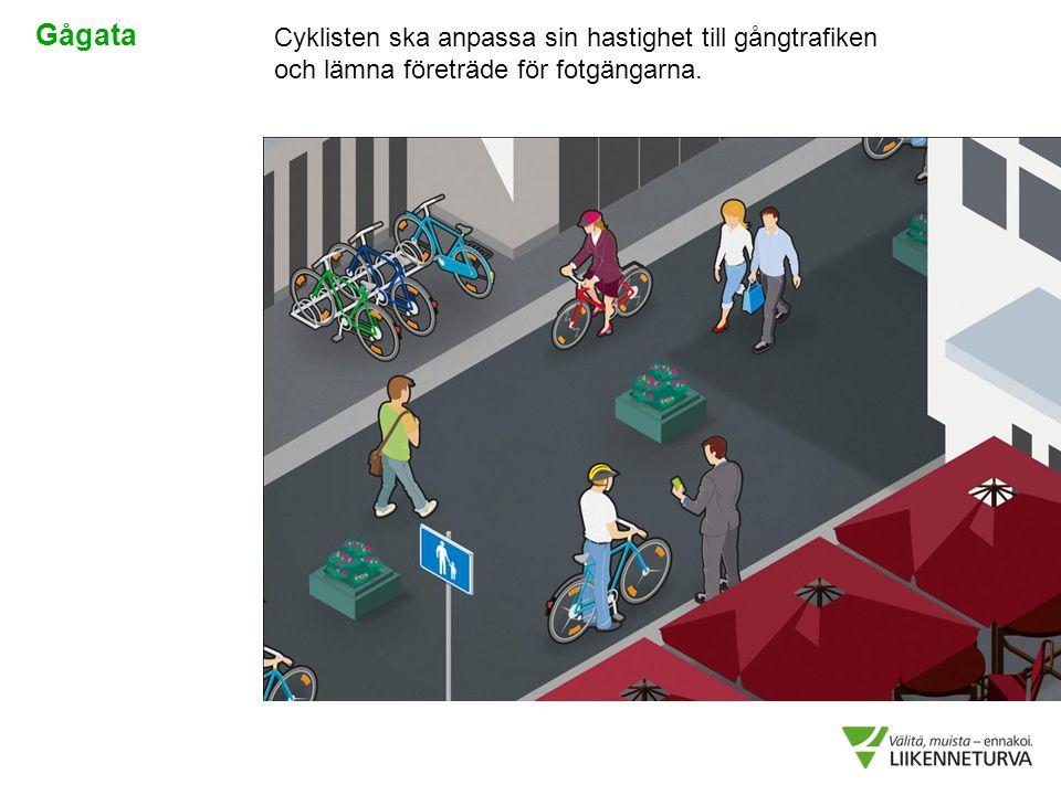 Cyklisten ska anpassa sin hastighet till gångtrafiken och lämna företräde för fotgängarna. Gågata