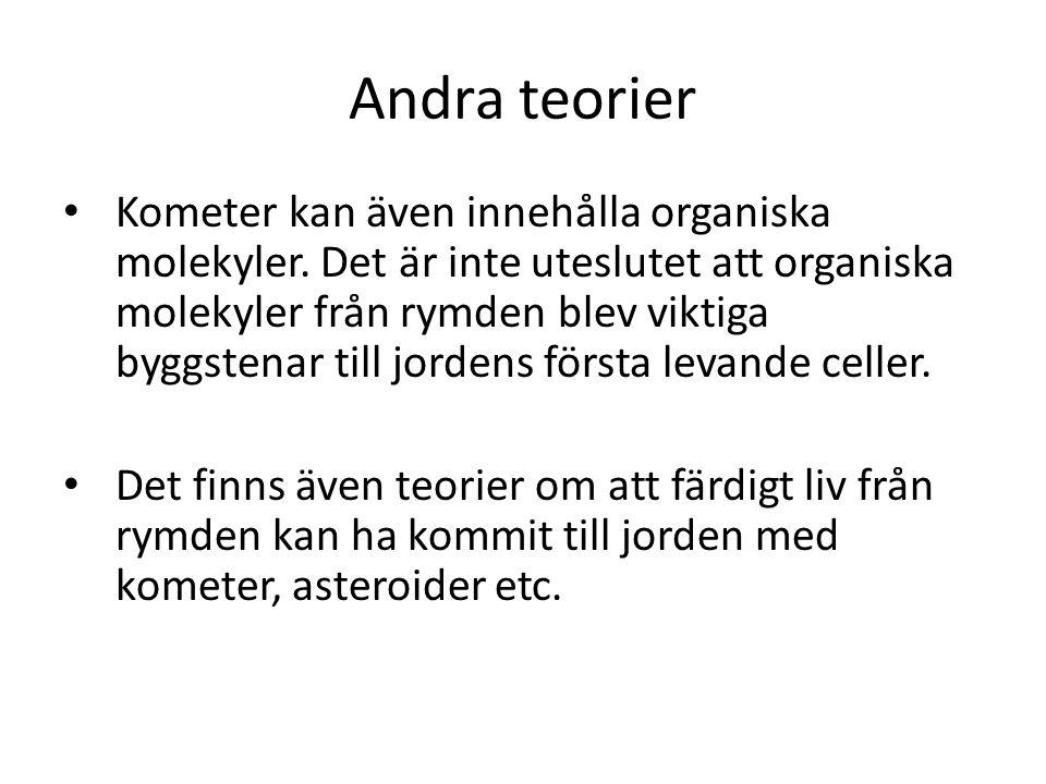 Andra teorier • Kometer kan även innehålla organiska molekyler.