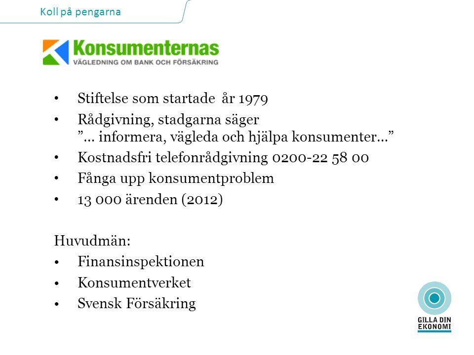 Koll på pengarna • Stiftelse som startade år 1979 • Rådgivning, stadgarna säger … informera, vägleda och hjälpa konsumenter… • Kostnadsfri telefonrådgivning 0200-22 58 00 • Fånga upp konsumentproblem • 13 000 ärenden (2012) Huvudmän: •Finansinspektionen •Konsumentverket •Svensk Försäkring