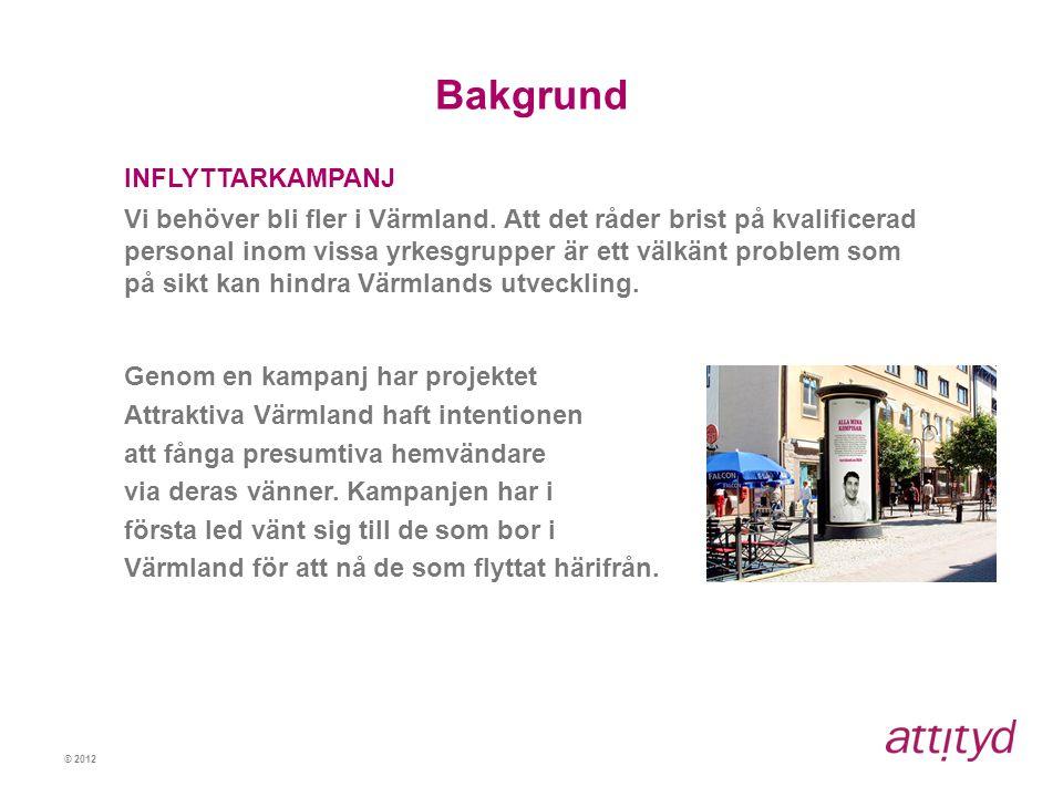 © 2012 Bakgrund INFLYTTARKAMPANJ Vi behöver bli fler i Värmland. Att det råder brist på kvalificerad personal inom vissa yrkesgrupper är ett välkänt p