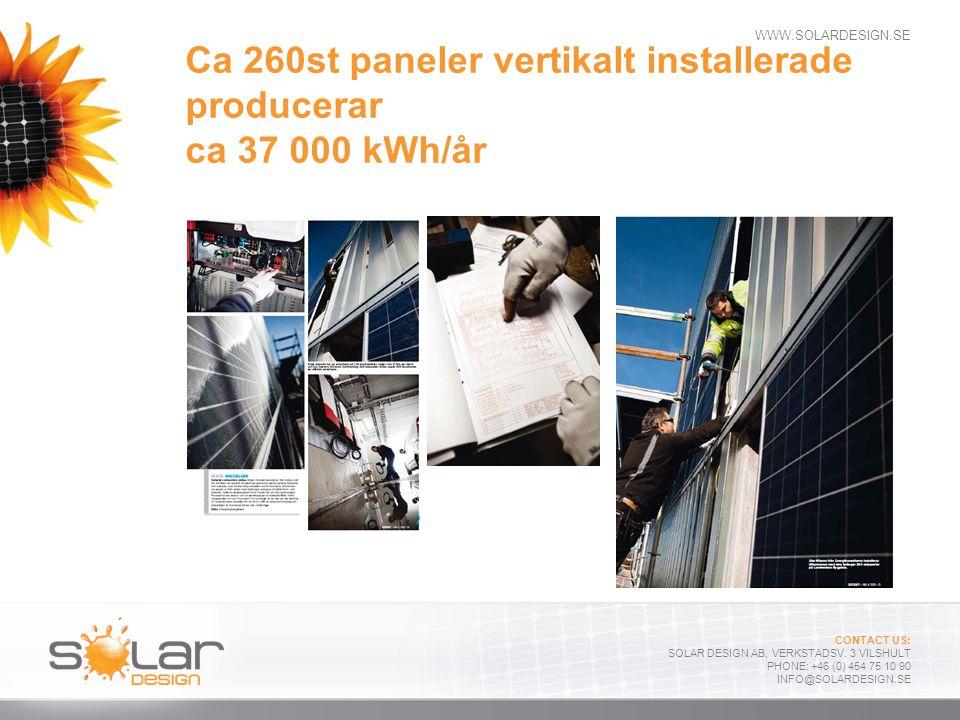WWW.SOLARDESIGN.SE CONTACT US: SOLAR DESIGN AB, VERKSTADSV. 3 VILSHULT PHONE: +46 (0) 454 75 10 90 INFO@SOLARDESIGN.SE Ca 260st paneler vertikalt inst