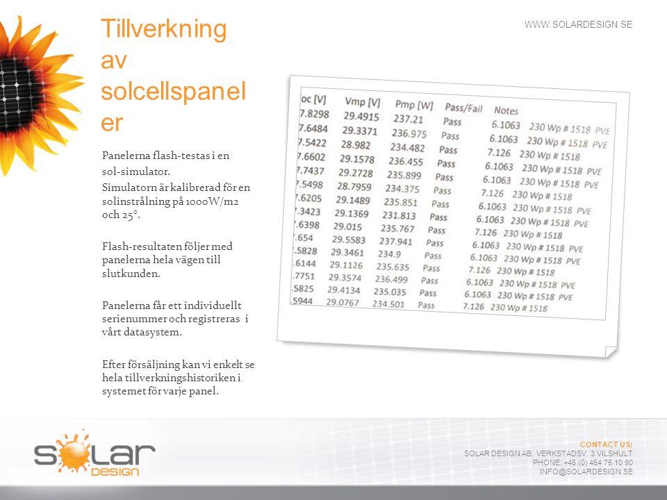 WWW.SOLARDESIGN.SE CONTACT US: SOLAR DESIGN AB, VERKSTADSV. 3 VILSHULT PHONE: +46 (0) 454 75 10 90 INFO@SOLARDESIGN.SE Tillverkning av solcellspanel e