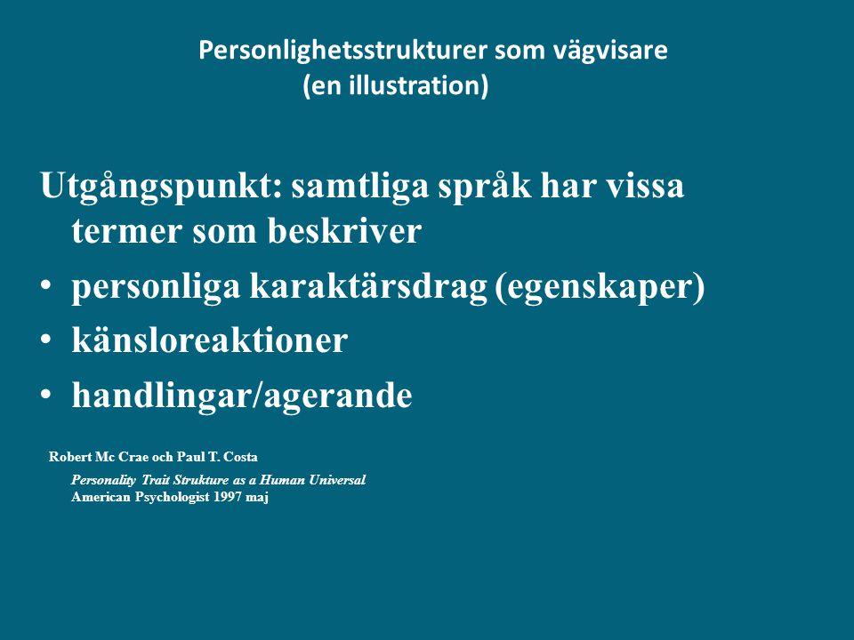 Personlighetsstrukturer som vägvisare (en illustration) Utgångspunkt: samtliga språk har vissa termer som beskriver • personliga karaktärsdrag (egensk