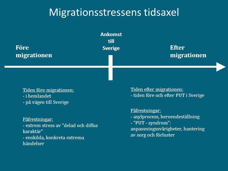 Migrationsstressens tidsaxel Före migrationen Efter migrationen Tiden före migrationen: - i hemlandet - på vägen till Sverige Påfrestningar: - extrem