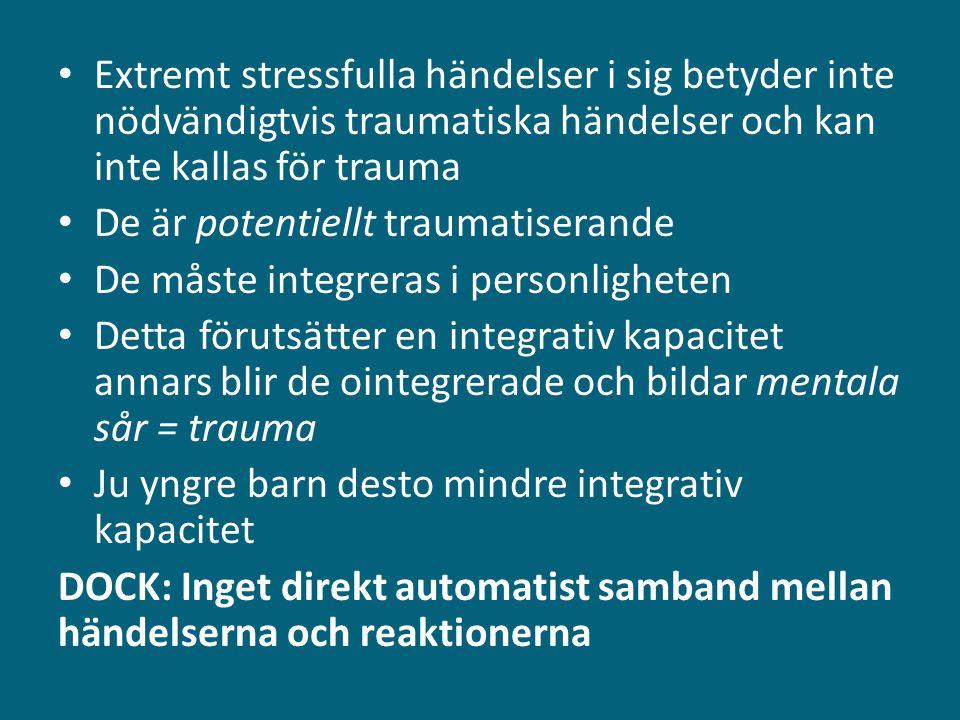 Målsättningar såväl i vardagskommunikation som i behandling (oavsett land och legalt status) • Öka tankeförmåga (alternera, växla perspektiv i konfliktsituationer) • Öka affekttoleransen (härbärgera, bekräfta, avdramatisera, kyla ner) • Stärka känslan av egen kontroll/autonomi (fokus på coping) • Omarbeta traumapräglade inre arbetsmodeller (på lång sikt) *** Summa summarum: öka motståndskraft - samvariation med hög poäng på positiv självbild, självständighet, tro på egna krafter, nyfikenhet