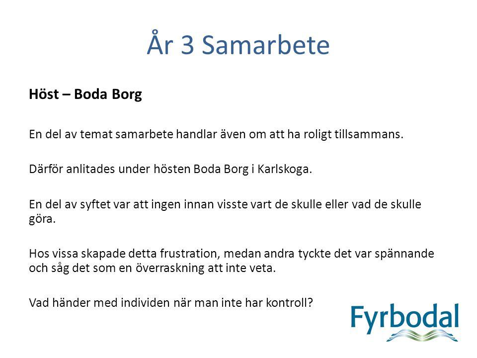 År 3 Samarbete Höst – Boda Borg En del av temat samarbete handlar även om att ha roligt tillsammans. Därför anlitades under hösten Boda Borg i Karlsko