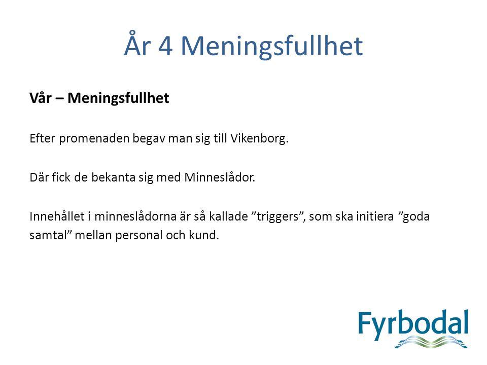 År 4 Meningsfullhet Vår – Meningsfullhet Efter promenaden begav man sig till Vikenborg. Där fick de bekanta sig med Minneslådor. Innehållet i minneslå
