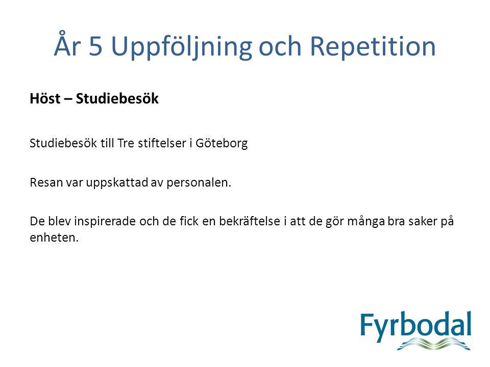 År 5 Uppföljning och Repetition Höst – Studiebesök Studiebesök till Tre stiftelser i Göteborg Resan var uppskattad av personalen. De blev inspirerade