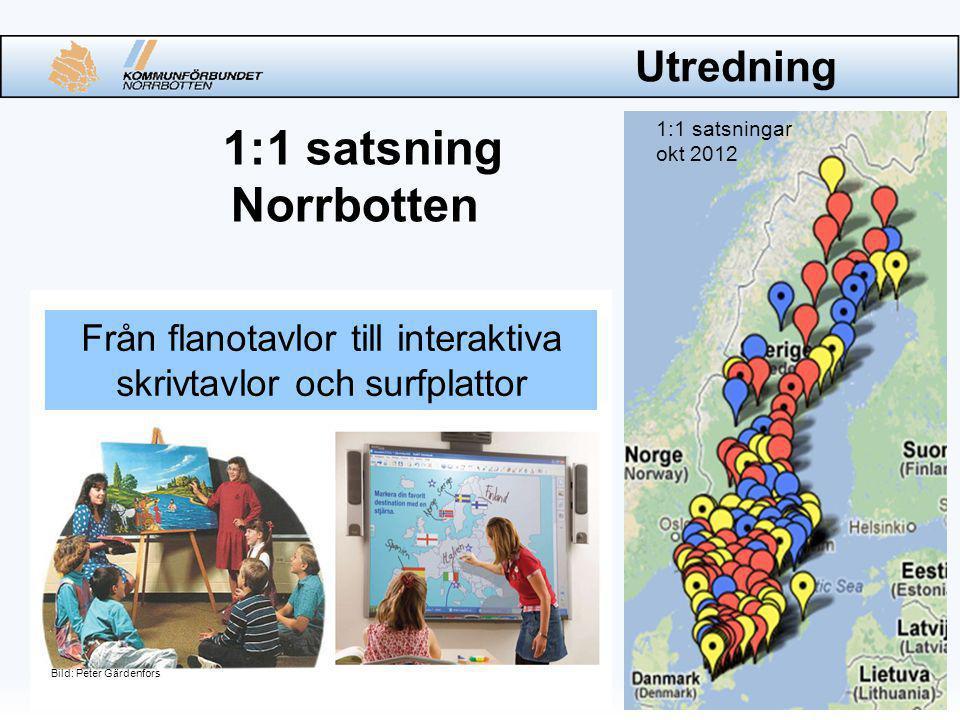 Utredning 1:1 satsning Norrbotten Bild: Peter Gärdenfors 1:1 satsningar okt 2012 Från flanotavlor till interaktiva skrivtavlor och surfplattor