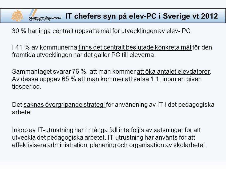 IT chefers syn på elev-PC i Sverige vt 2012 30 % har inga centralt uppsatta mål för utvecklingen av elev- PC.