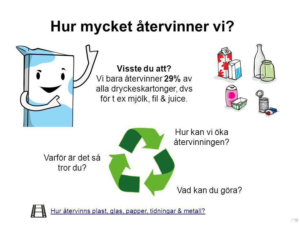 / 10 Hur mycket återvinner vi? Visste du att? Vi bara återvinner 29% av alla dryckeskartonger, dvs för t ex mjölk, fil & juice. Hur kan vi öka återvin