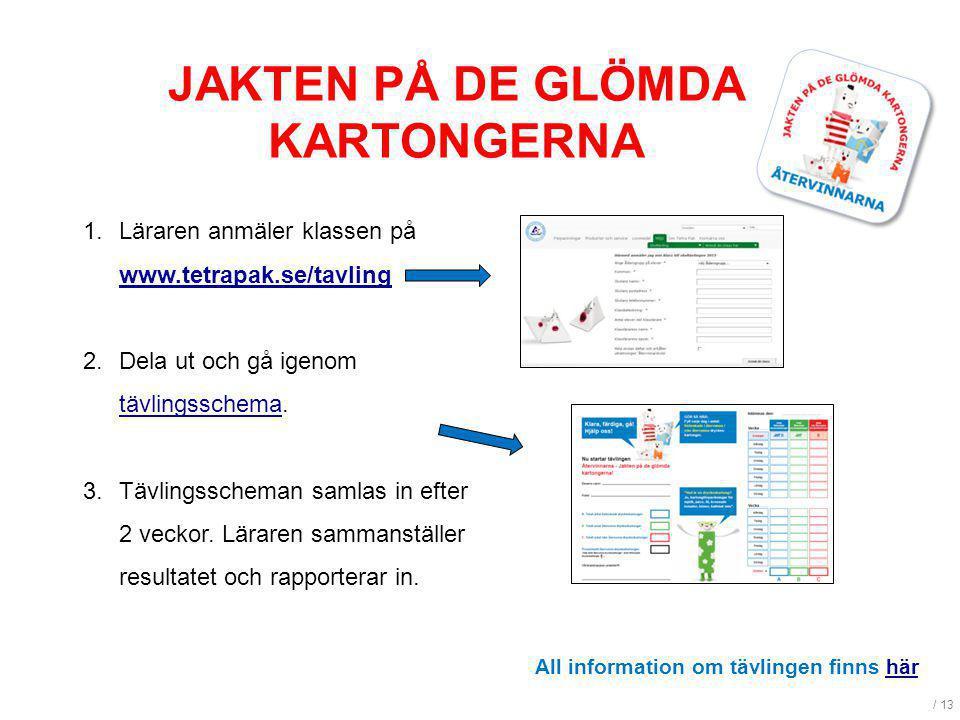 / 13 JAKTEN PÅ DE GLÖMDA KARTONGERNA 1.Läraren anmäler klassen på www.tetrapak.se/tavling www.tetrapak.se/tavling 2.Dela ut och gå igenom tävlingsschematävlingsschema.