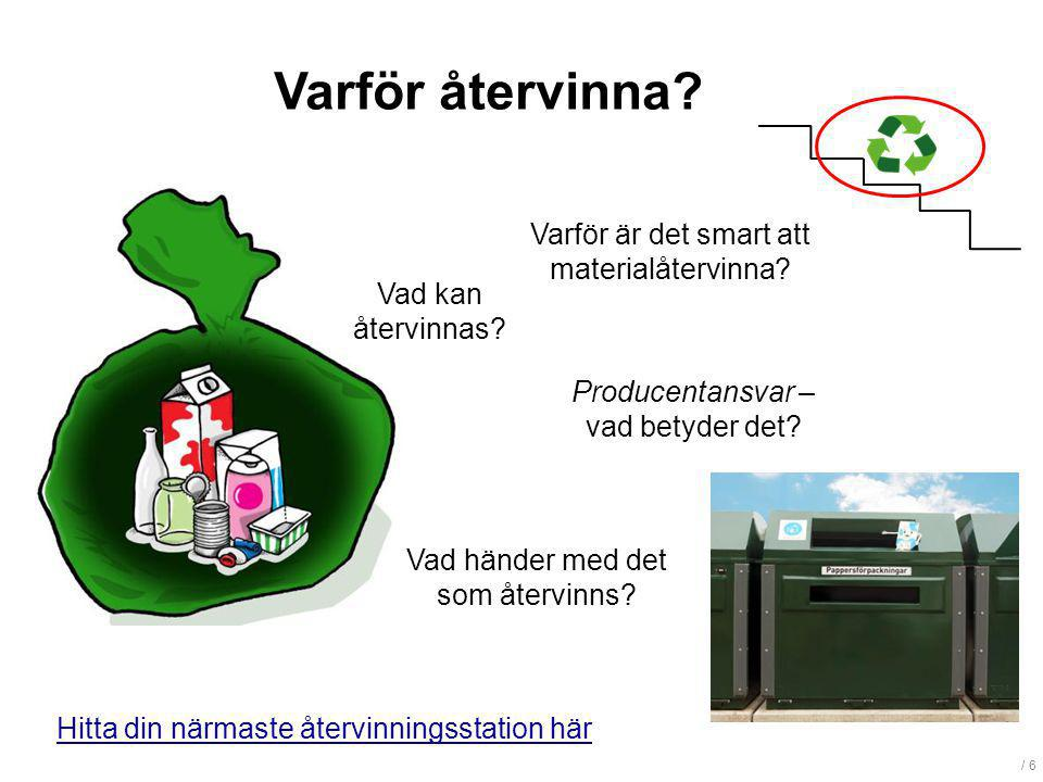 / 6 Varför återvinna? Vad kan återvinnas? Producentansvar – vad betyder det? Varför är det smart att materialåtervinna? Vad händer med det som återvin