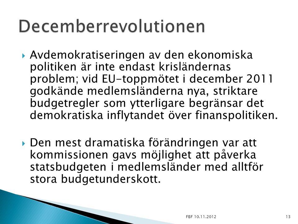  Avdemokratiseringen av den ekonomiska politiken är inte endast krisländernas problem; vid EU-toppmötet i december 2011 godkände medlemsländerna nya,