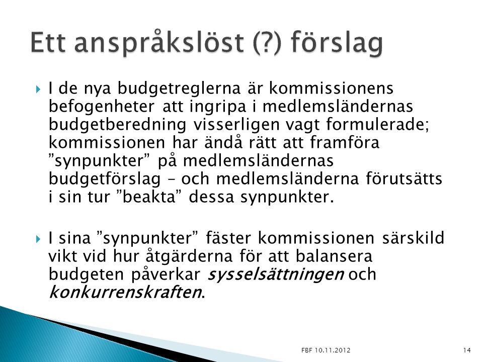  I de nya budgetreglerna är kommissionens befogenheter att ingripa i medlemsländernas budgetberedning visserligen vagt formulerade; kommissionen har