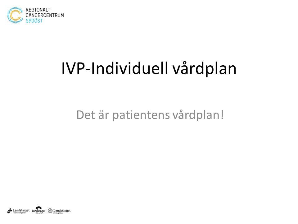 Klicka här för att ändra format • Klicka här för att ändra format på bakgrundstexten – Nivå två • Nivå tre – Nivå fyra » Nivå fem 1 IVP-Individuell vårdplan Det är patientens vårdplan!