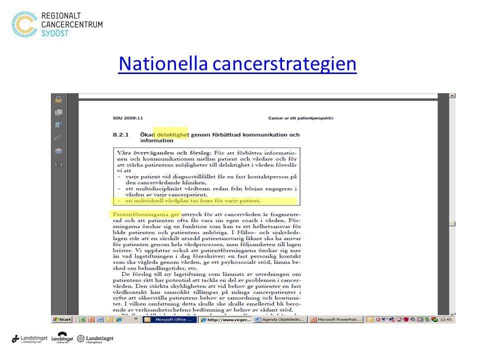 Klicka här för att ändra format • Klicka här för att ändra format på bakgrundstexten – Nivå två • Nivå tre – Nivå fyra » Nivå fem 2 Nationella cancerstrategien