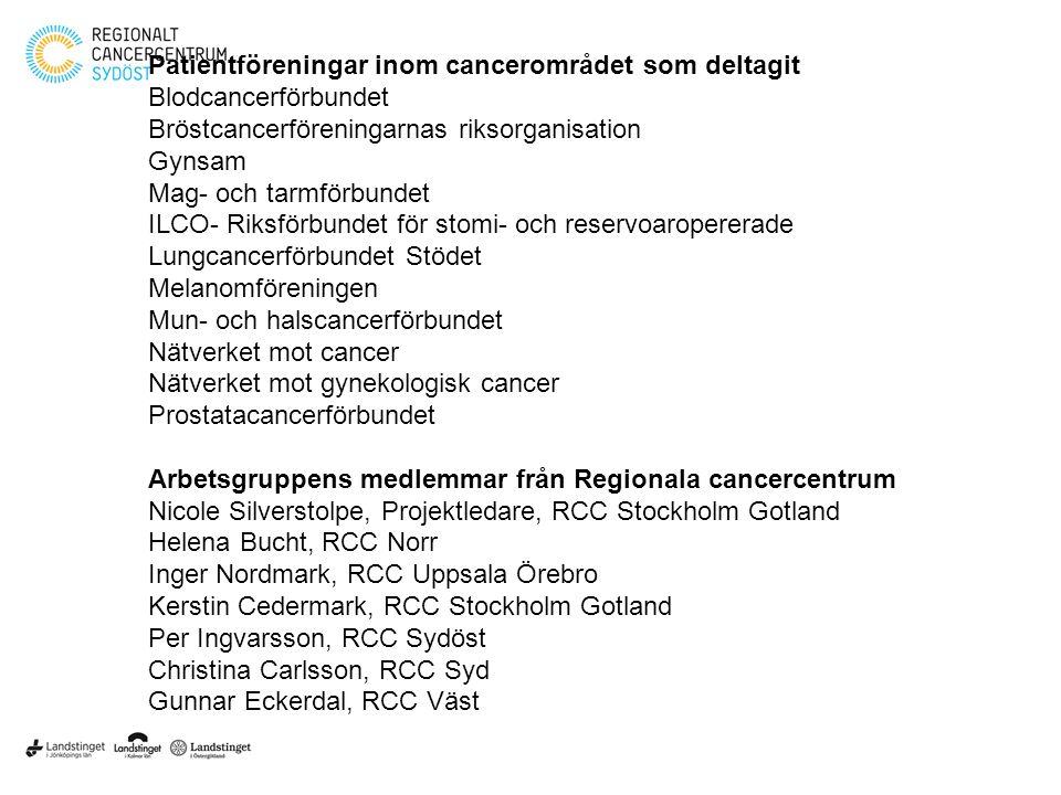 Klicka här för att ändra format • Klicka här för att ändra format på bakgrundstexten – Nivå två • Nivå tre – Nivå fyra » Nivå fem 6 Patientföreningar inom cancerområdet som deltagit Blodcancerförbundet Bröstcancerföreningarnas riksorganisation Gynsam Mag- och tarmförbundet ILCO- Riksförbundet för stomi- och reservoaropererade Lungcancerförbundet Stödet Melanomföreningen Mun- och halscancerförbundet Nätverket mot cancer Nätverket mot gynekologisk cancer Prostatacancerförbundet Arbetsgruppens medlemmar från Regionala cancercentrum Nicole Silverstolpe, Projektledare, RCC Stockholm Gotland Helena Bucht, RCC Norr Inger Nordmark, RCC Uppsala Örebro Kerstin Cedermark, RCC Stockholm Gotland Per Ingvarsson, RCC Sydöst Christina Carlsson, RCC Syd Gunnar Eckerdal, RCC Väst