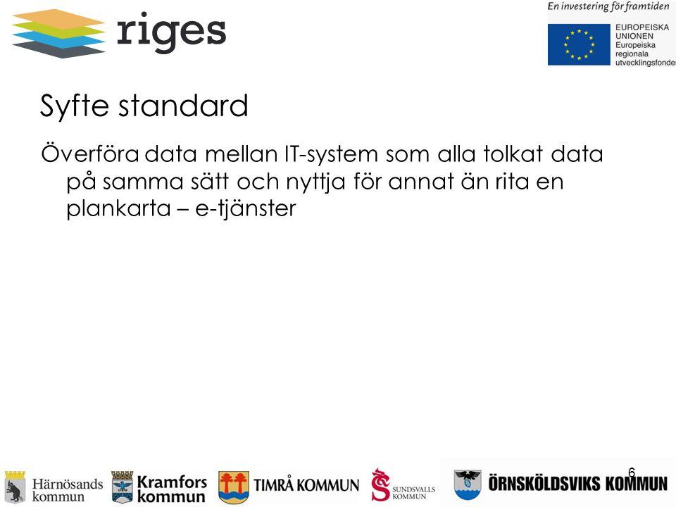 Syfte standard Överföra data mellan IT-system som alla tolkat data på samma sätt och nyttja för annat än rita en plankarta – e-tjänster 6