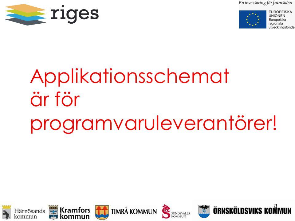 Applikationsschemat är för programvaruleverantörer! 8