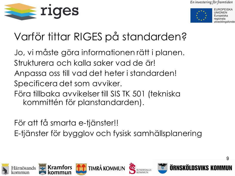 Varför tittar RIGES på standarden? Jo, vi måste göra informationen rätt i planen. Strukturera och kalla saker vad de är! Anpassa oss till vad det hete