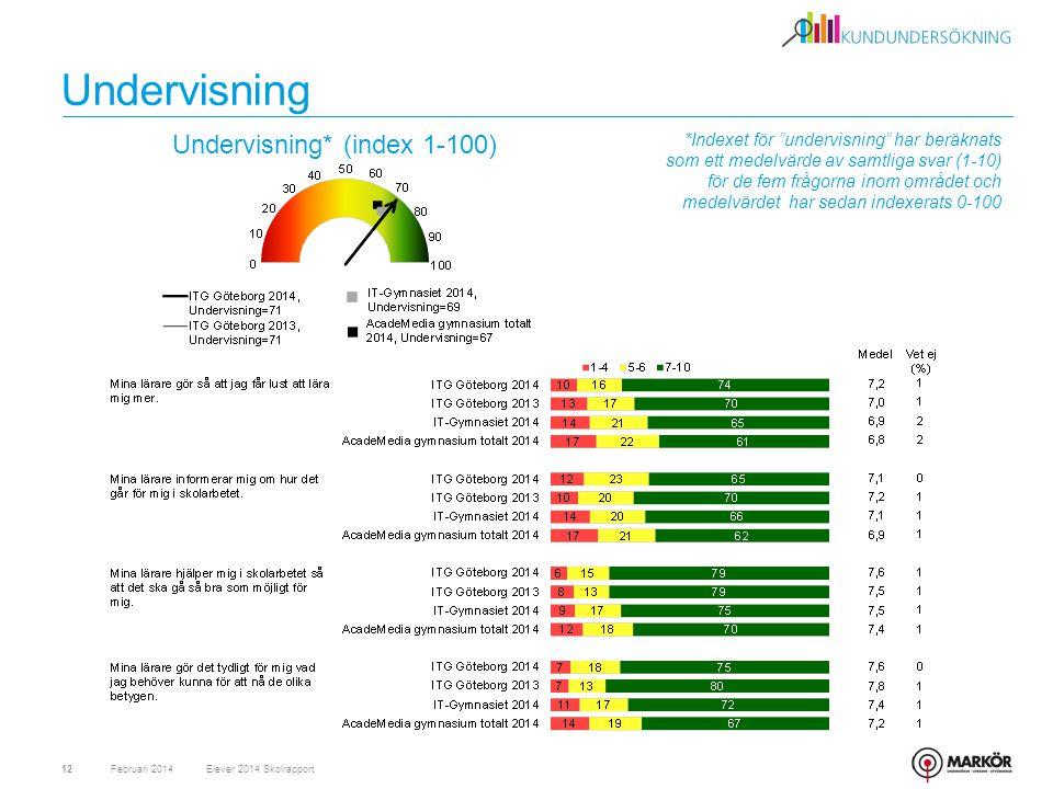 *Indexet för undervisning har beräknats som ett medelvärde av samtliga svar (1-10) för de fem frågorna inom området och medelvärdet har sedan indexerats 0-100 Undervisning Februari 201412 Undervisning* (index 1-100) Elever 2014 Skolrapport