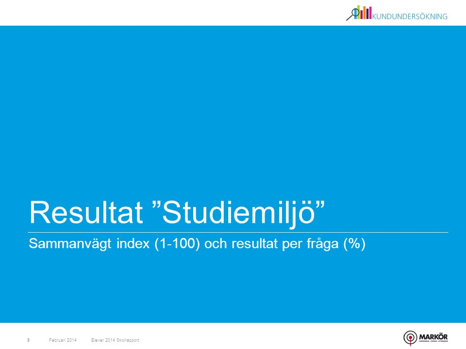"""Resultat """"Studiemiljö"""" Sammanvägt index (1-100) och resultat per fråga (%) Februari 20149Elever 2014 Skolrapport"""