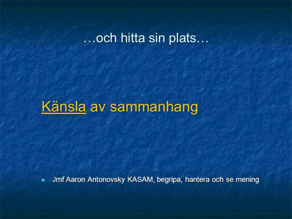 …och hitta sin plats… Känsla av sammanhang  Jmf Aaron Antonovsky KASAM, begripa, hantera och se mening