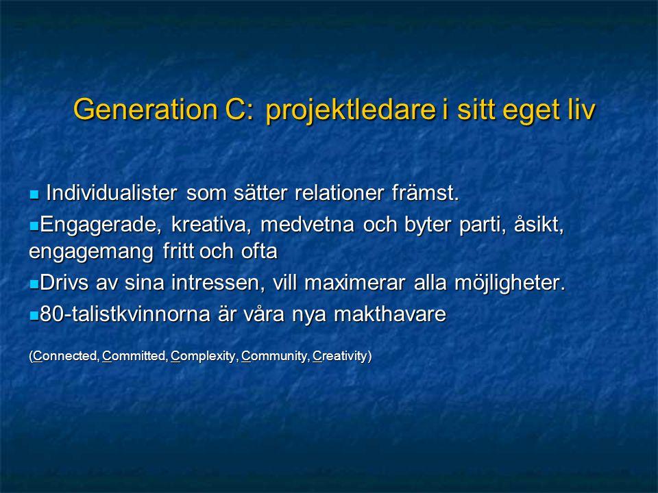 Generation C: projektledare i sitt eget liv  Individualister som sätter relationer främst.  Engagerade, kreativa, medvetna och byter parti, åsikt, e