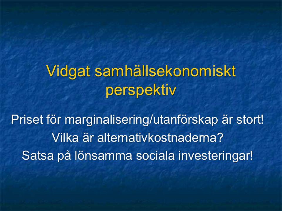 Vidgat samhällsekonomiskt perspektiv Priset för marginalisering/utanförskap är stort! Vilka är alternativkostnaderna? Satsa på lönsamma sociala invest
