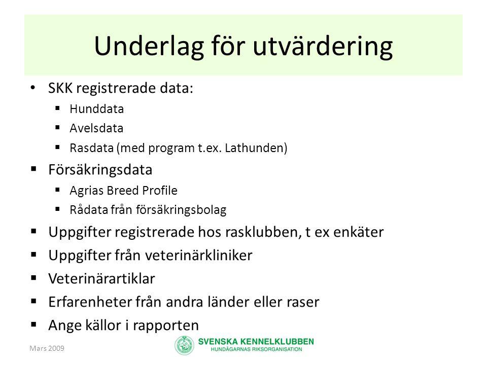 Mars 2009 Underlag för utvärdering • SKK registrerade data:  Hunddata  Avelsdata  Rasdata (med program t.ex. Lathunden)  Försäkringsdata  Agrias