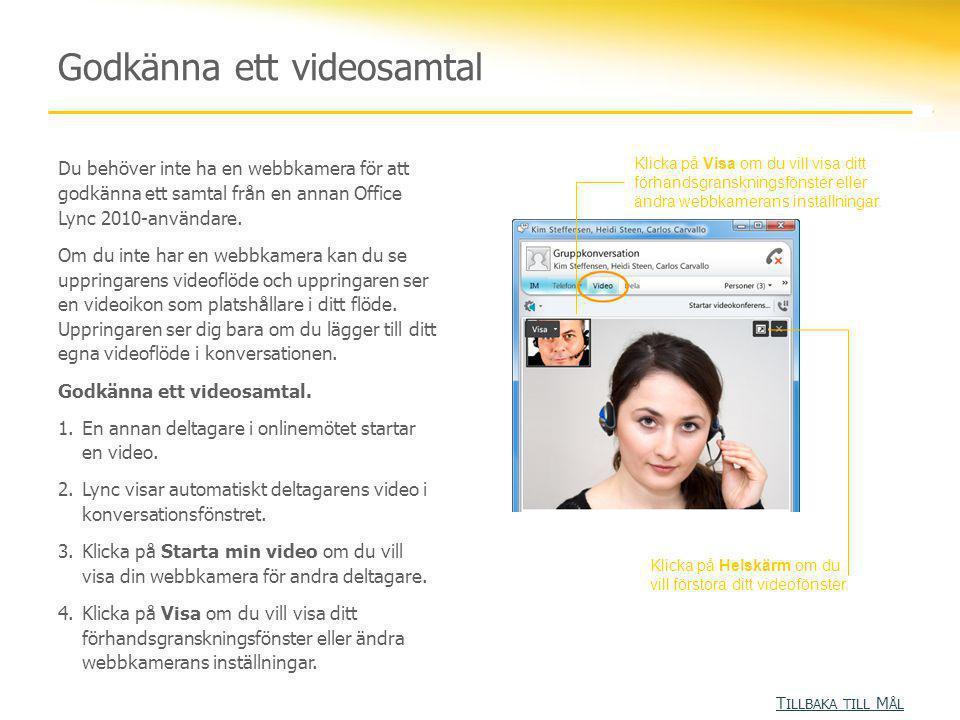 Du behöver inte ha en webbkamera för att godkänna ett samtal från en annan Office Lync 2010-användare. Om du inte har en webbkamera kan du se uppringa