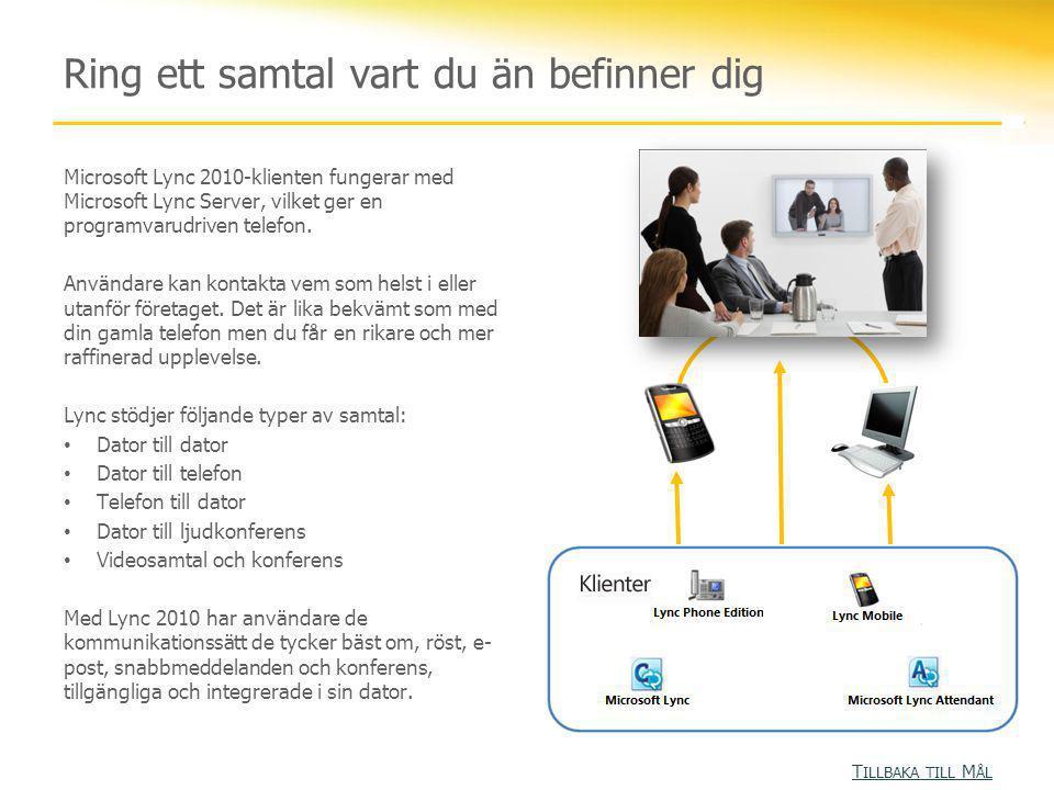 Ring ett samtal vart du än befinner dig Microsoft Lync 2010-klienten fungerar med Microsoft Lync Server, vilket ger en programvarudriven telefon. Anvä