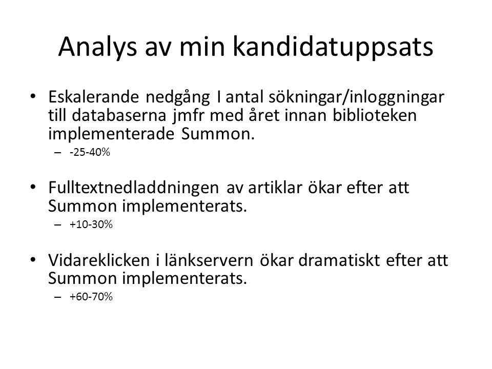 Analys av min kandidatuppsats • Eskalerande nedgång I antal sökningar/inloggningar till databaserna jmfr med året innan biblioteken implementerade Summon.
