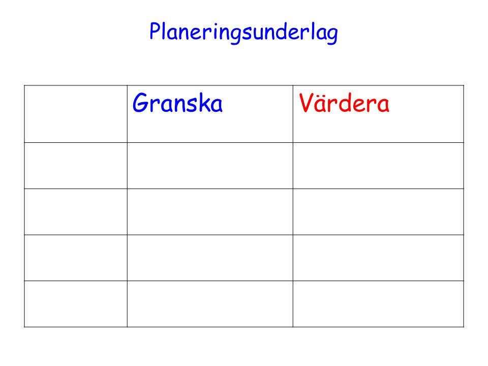 Planeringsunderlag GranskaVärdera