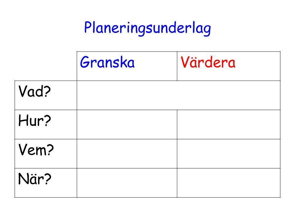Planeringsunderlag GranskaVärdera Vad Hur Vem När