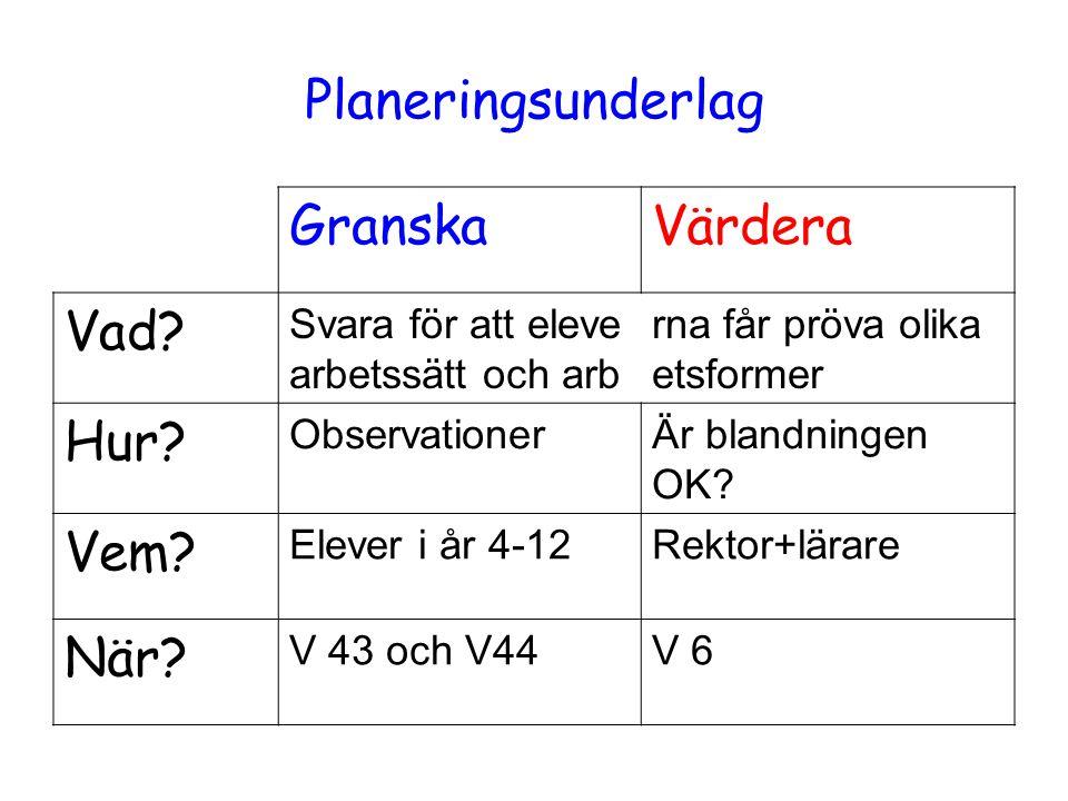 Planeringsunderlag GranskaVärdera Vad.