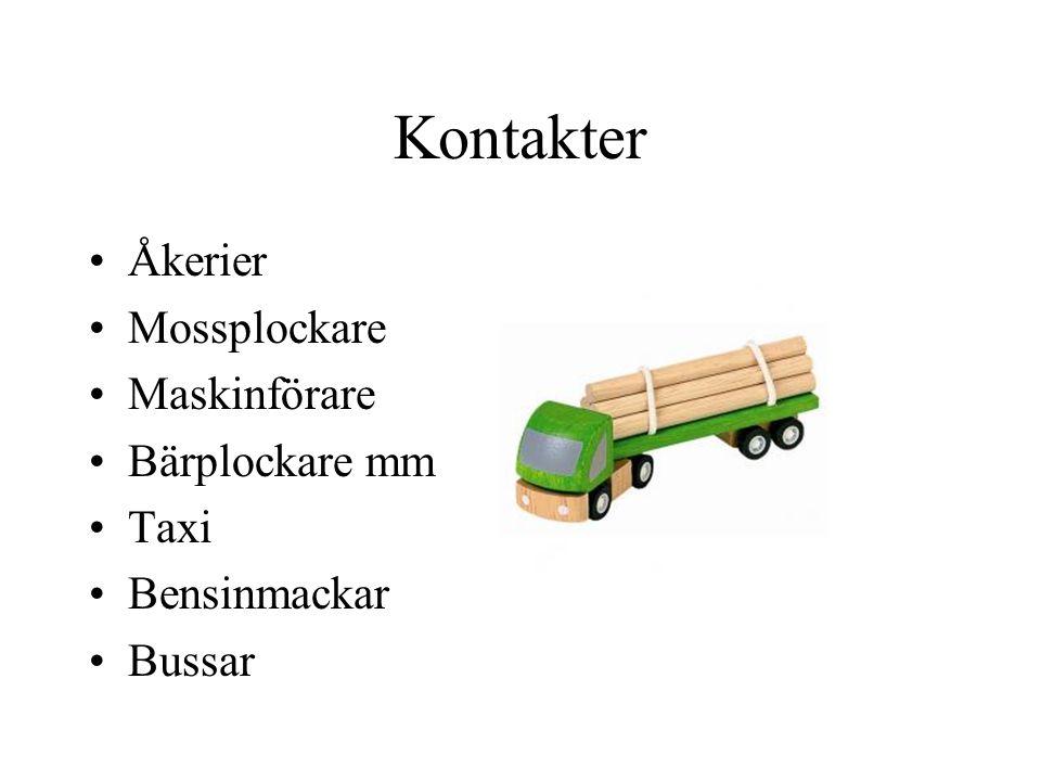 Kontakter •Åkerier •Mossplockare •Maskinförare •Bärplockare mm •Taxi •Bensinmackar •Bussar