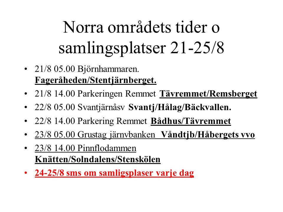 Norra områdets tider o samlingsplatser 21-25/8 •21/8 05.00 Björnhammaren. Fageråheden/Stentjärnberget. •21/8 14.00 Parkeringen Remmet Tävremmet/Remsbe