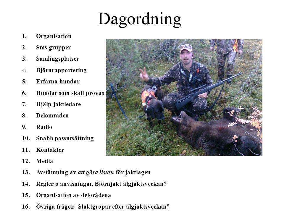 Dagordning 1.Organisation 2.Sms grupper 3.Samlingsplatser 4.Björnrapportering 5.Erfarna hundar 6.Hundar som skall provas 7.Hjälp jaktledare 8.Delområd
