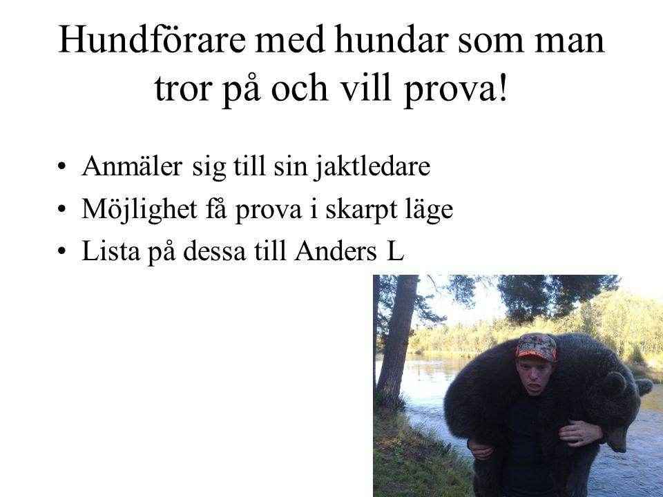 Hjälp jaktledare •Anders Lindkvist (Ordinarie) 070-578 29 04 •Jan Härjebäck 070-554 31 07 •Emil Gunnarsson076-824 94 33